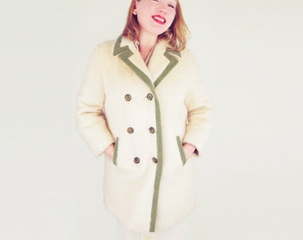 60s Cream Furry Mohair Wool Fleece Peacoat with Olive Trim M L