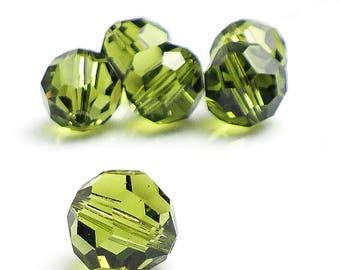 6 - Olivine Swarovski Crystal 10mm Round item 5000