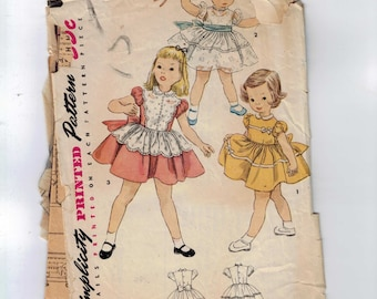 1950s Vintage Sewing Pattern Simplicity 4591 Girls Full Skirt Party Dress Size 2 Breast 21 50s