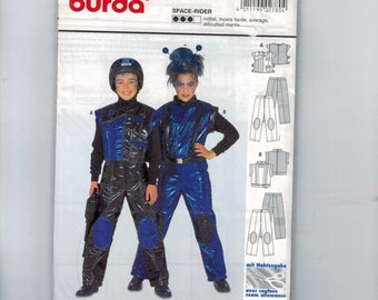 Kids Sewing Pattern Burda 2780 Kids Space Rider Astronaut Alien SciFi Cosplay Costume Boys Girls Size 7 8 9 10 11 12 UNCUT