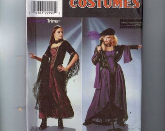 Misses Sewing Pattern Simplicity 8750 Misses Goth Witch Lace Up Renaissance Costume Faire Size 10 12 14 Bust 32 33 34 36 UNCUT