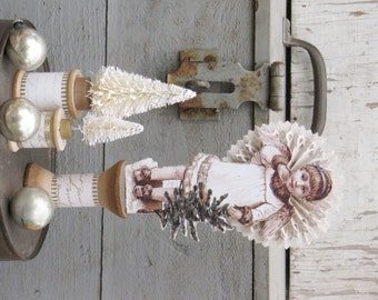 Vintage Inspired CHRISTMAS Victorian Angel Holding a Tree ~ Standing on a Spool ~ Rosettes ~ Winter White