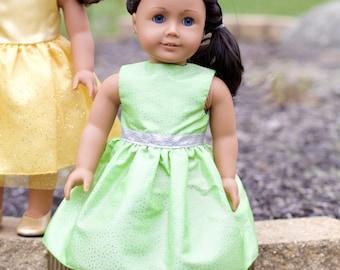 "18"" Doll Sparkling Lime Dress for American Girl Dolls"