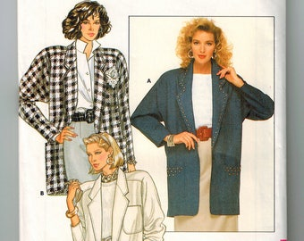 Vintage 80s Misses Jacket Uncut Sewing Pattern Size 14-16-18 Loose Fitting Unlined Notched Collar Back Pleat Below Hip Yoke Long Sleeves