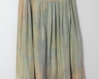 soft silk pleated skirt // jewel tone watercolour tie dye