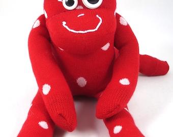 New* Mini Sock Monkey KELVIN : red, white, polka dot, spot, handmade plush sock toy softie.