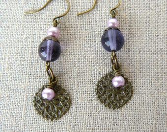 Purple Earrings, Purple and Mauve Vintage Boho Dangles, Violet and Antique Brass Medallions, Unique Jewelry, Gift for Her