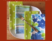 Large Cloth Napkins - Set of 4 - Dinner Size - Blue and Green Spots, Stripe and Floral Mix