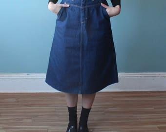 denim a line skirt | knee length dark jean skirt | 80s