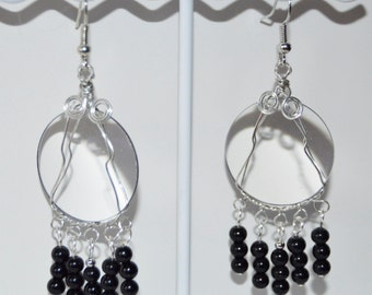 Camera lens earrings gloss onyx beads wire wrapped glass lenses artist made in Michigan dangle