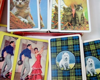 Packs of Vintage Picture Back Playing Cards - 1950s, 1960s British & US Decks with Kittens, Highland Terrier, Flamenco Dancers
