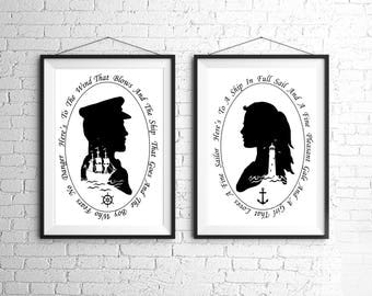 The Sailor and the Girl Nautical Silhouette Print Set Pirate Ship Black and White Beach House Decor Ocean Lighthouse