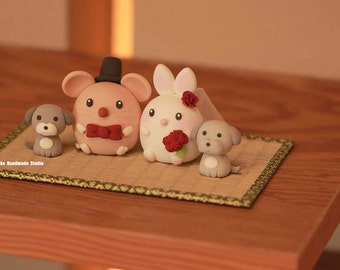 mouse and rabbit cake topper, rat cake topper,bunny and  and mice Wedding Cake Topper