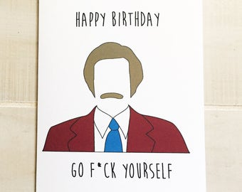 Birthday card Anchorman Ron Burgundy funny bday card funny birthday card Anchorman birthday card funny gift funny present