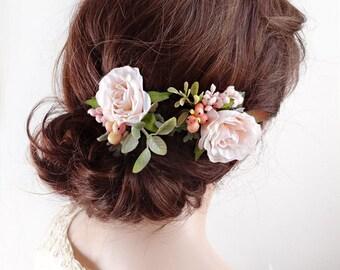 bridal hair piece, blush hair comb, bridal headpiece, blush wedding, floral hair clip, floral hair comb, wedding hair accessories, pale pink
