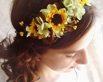sunflower hair piece, sunflower headpiece, sunflower headband, sunflower wedding, yellow flower crown, bridal flower crown, floral crown