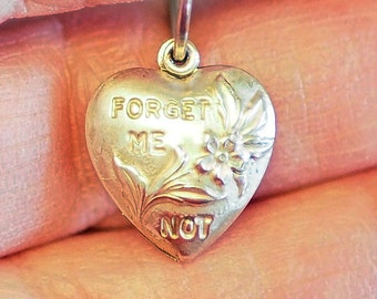 Vintage Sterling Puff Heart Charm FORGET ME NOT - New Old Stock circa 1940