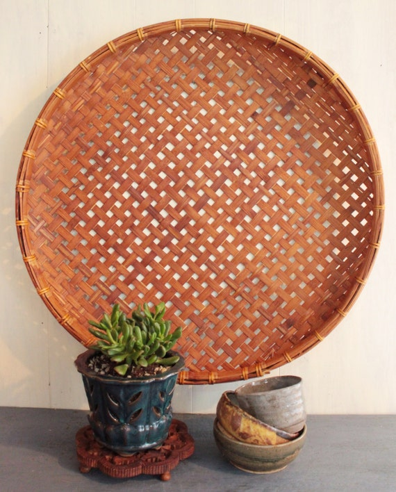 Rattan Wall Decor Round : Large round bamboo basket shallow wall boho