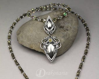 Woodland sparkles - ONE OF A KIND sparkling necklace, sculpted silver, zirconias, pyrites, Swarovski crystals