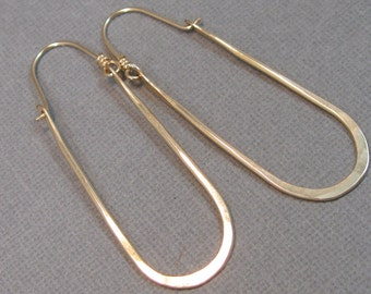 Long Gold-Filled Hammered Horseshoe Hoops, Gold-Filled Handmade Jewelry Artisan Earrings
