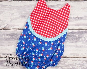 NEW 4th of July Outfit, Baby Girl Clothes, Bubble Romper in Bomb Pop Red White Blue Popsicles by Charming Necessities trendy boho