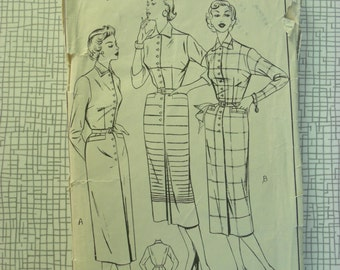 """1950s Dress - 34"""" Bust - Style 505 - Vintage Sewing Pattern"""