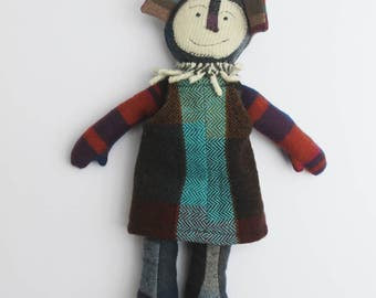 Wallabee in Jumper, Handmade Art Doll, Recycled Cashmere Doll, Artist Doll, Its called a Wallabee - by Crispina ffrench