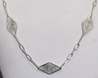 Handmade Filigree Chain Necklace, Sterling Silver, 30 inches