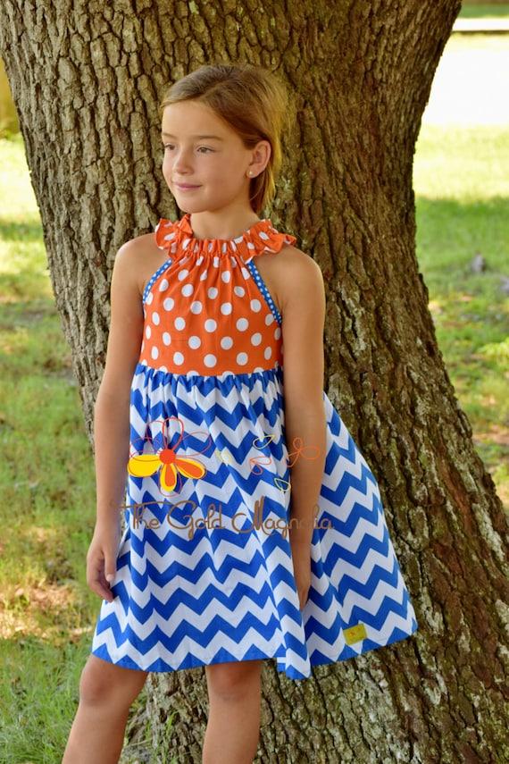 Girls Auburn Dress - Girls Gators Dress - Orange and Blue Game Day Dress - Auburn University -  Florida Gators - Football Dress