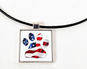 Dog Paw with USA Flag Pendant and Cord Necklace - Free Shipping