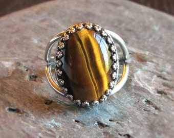 Tiger eye ring, antique silver ring, gemstone ring, holiday gift ideas, gift ideas for mom, unique Christmas gift