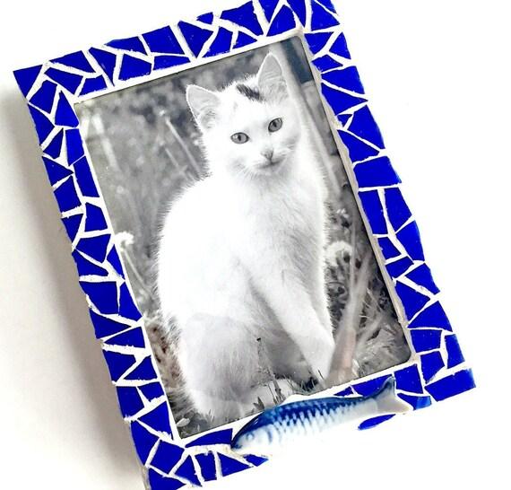 Cobalt Blue Mosaic Frame, 5x7 Mosaic Frame, Blue Fish Mosaic Frame, Mixed Media Blue Fish Picture Frame, Pisces Mosaic Royal Blue Frame