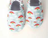 Baby Shoes, Baby Moccasins, Childrens Indoor Shoes, Rainbow