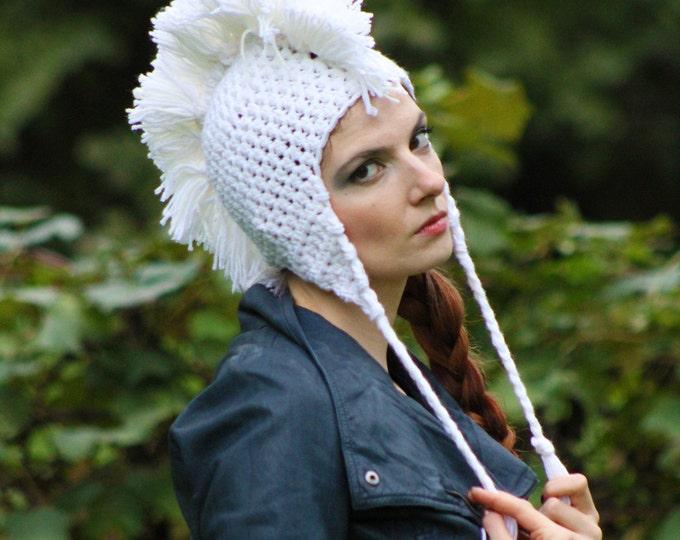 White Mohawk Ear Flap Hat Handmade Crochet Gift