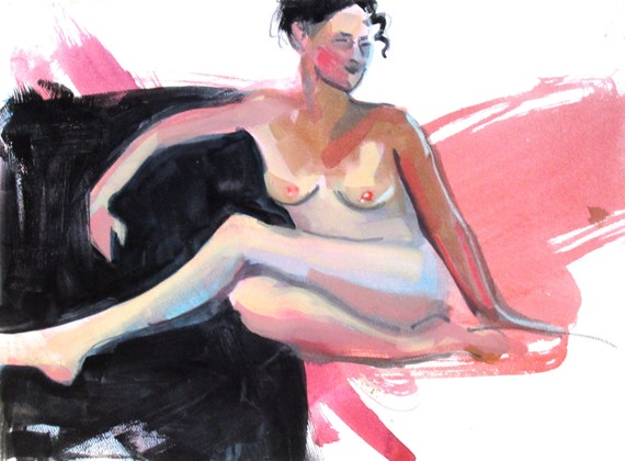 Nude painting- Original watercolor painting of Nude #1373 by Gretchen Kelly