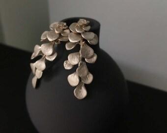 Succulent plant earrings-Sterling silver succulent earrings-Long earrings -Plant jewelry-Casted succulent -Wedding earrings -Gift for her