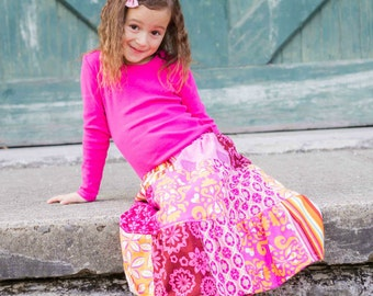 Girl's Maxi skirt - patchwork skirt - Boho maxi skirt - Bohemian maxi skirt - Toddler Maxi skirt - long skirt - girls skirts - Fall  skirt