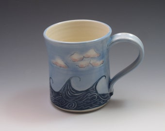 Waves Mug, Porcelain coffee cup