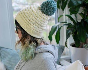 Snowy White Tuck Stitch Hat