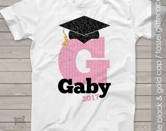 Graduation girl initial with glitter grad cap shirt - adorable end of school year tshirt   MSCL-009