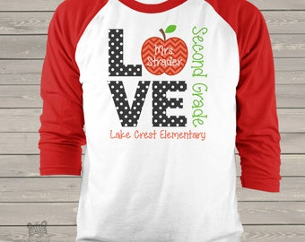 Teacher shirt - love school personalized raglan shirt for teachers MSCL-025-R