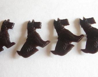 Scottish Terrier Buttons Brown Celluloid Bakelite Plastic Molded Lot (4) Vintage Scotty Scottie Dog