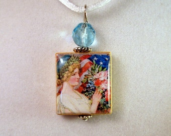 Americana Necklace / Scrabble Pendant / Charm / Lady Liberty / Independence Day / 4th of July