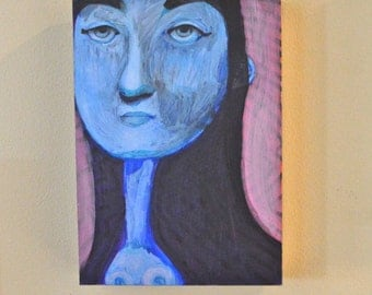 Blue Girl Painting on Board