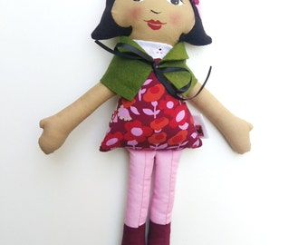 """Brown Cloth Heirloom Doll, 18"""" Rag Doll with Green Cape, African American Doll, Latina doll, biracial doll, Christmas doll"""