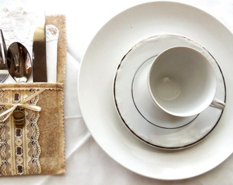 Silverware Holder...Silverware Pocket...Dinner Table Decoration...Elegant Table Detail...Silverware And Napkin Holder..