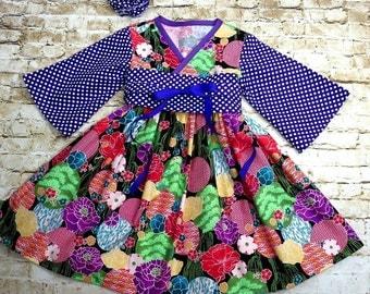 Little Girl Dresses - Toddler Birthday Dress - Baby Clothes - Tween Dress - Cherry Blossoms - Purple Floral - Kimono - 12 mon...