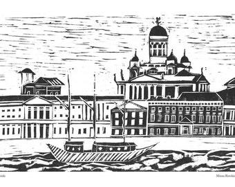 Helsinki skyline poster