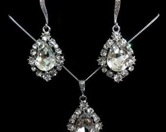 Teardrop Bridal Jewelry Set, Swarovski Bridal Earrings, Drop Bridal Necklace, Crystal Wedding Earrings, Wedding Jewelry Gift for Her, BIJOUX