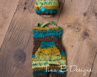 Newborn shortalls with kangaroo pocket and button beanie set in brown, bold, teal, and green